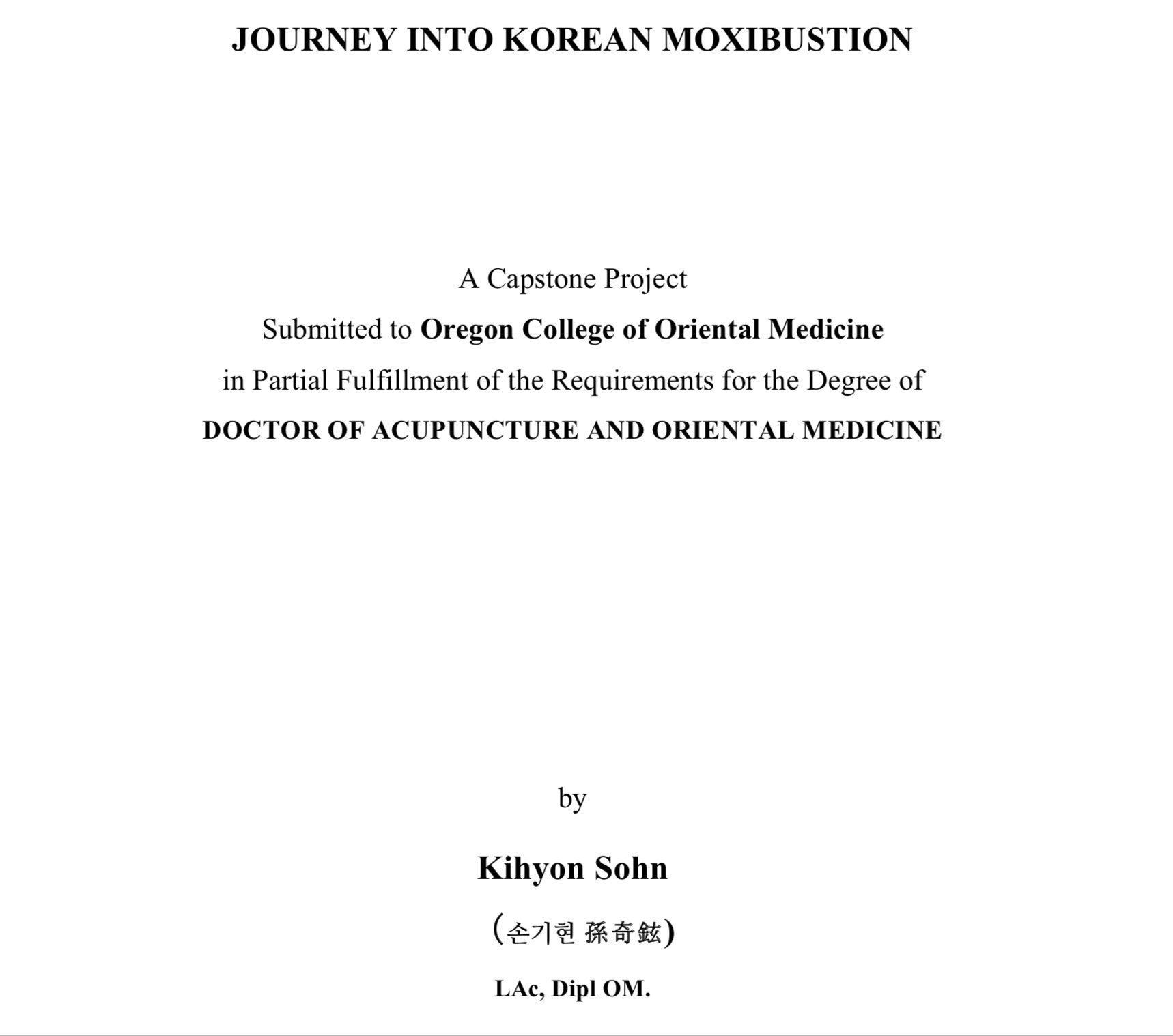 Moxibustion Kihyon Sohn